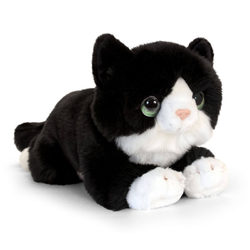 Plüss fekvő fekete cica 32 cm-es