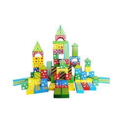 Fa építőkocka - 100 db-os, színes, mintás