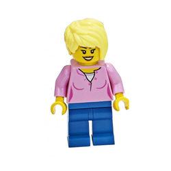 LEGO® Minifigura Szőke nő rózsaszín felsőben