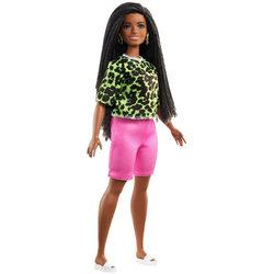 Barbie Fashionistas - Barna hajú zöld állatmintás topban