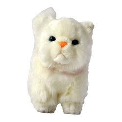 Plüss perzsa cica - fehér 15 cm