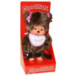 Monchhichi - lány figura fehér előkével - 20 cm