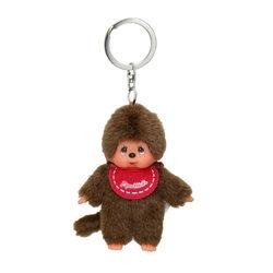 Monchhichi plüss kulcstartó 10 cm - fiú piros előkével