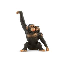 Bullyland 63594 Nőstény csimpánz kölyökével